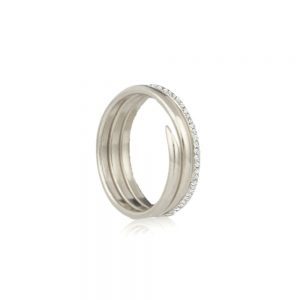 Diamond silver 3 coil charm ring