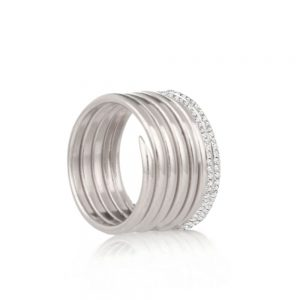Diamond silver 7 coil charm ring