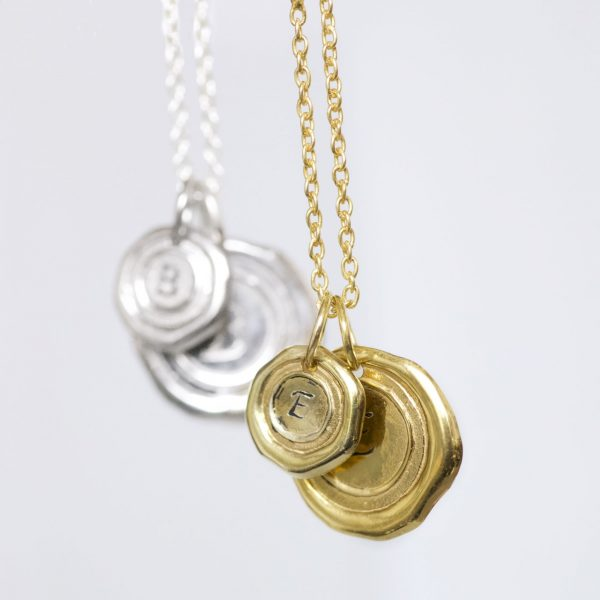 Wax seal personalised initial necklace gold