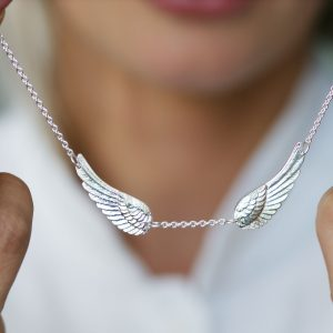 Statement Silver Angel Wing Necklace