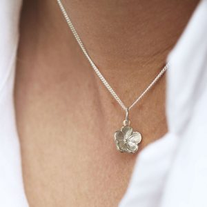 silver forget me not pendant