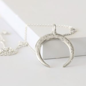 Silver Upside-down Moon Necklace