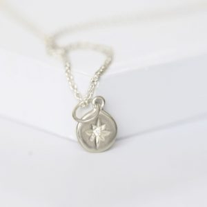 silver sapphire set North star pendant necklace