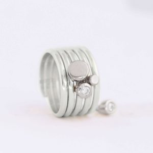 medium silver caviar slider ring charm