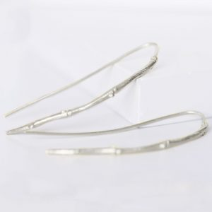 sterling silver twig drop earrings