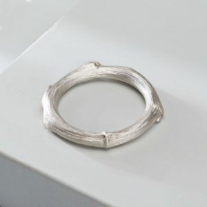 Mens thick white gold twig wedding band