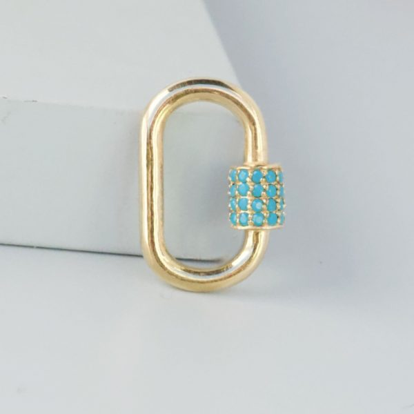 Gold carabiner lock with turquoise
