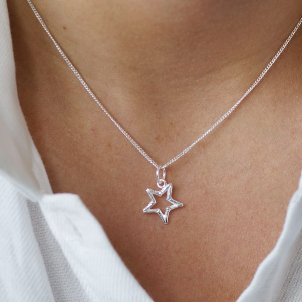 Sterling silver open star necklace