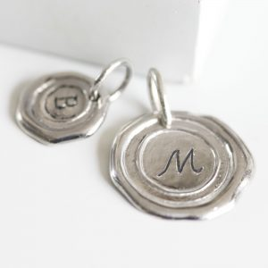 Silver wax seal necklace