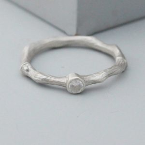 White gold diamond solitaire twig ring