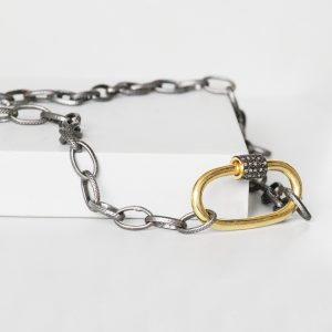 Black Carabiner Lock Necklace