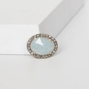 Diamond And Aquamarine Ring Charm