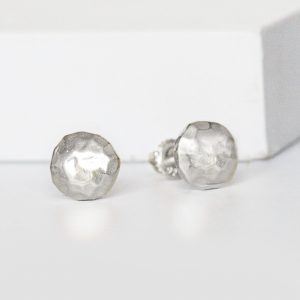 Hammered Silver Stud Earrings
