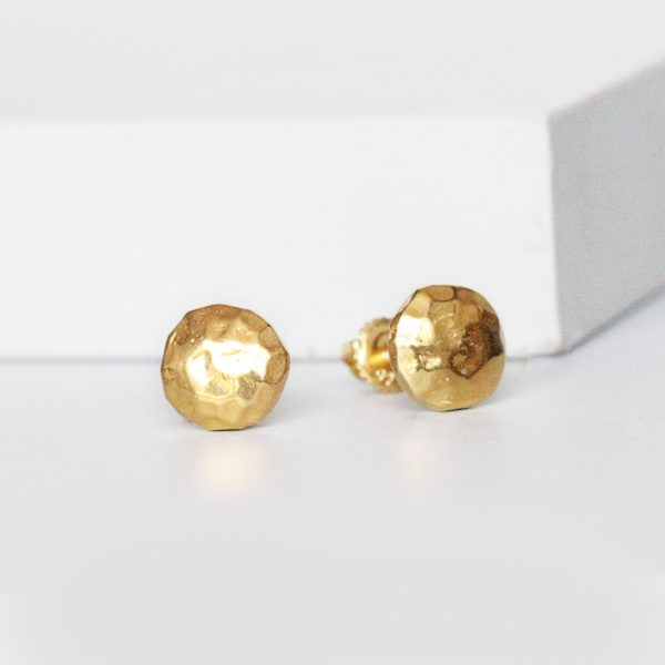 Hammered Gold Studs