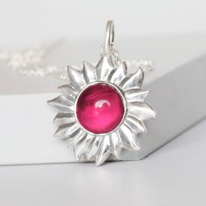 Silver Flower Gemstone Necklace