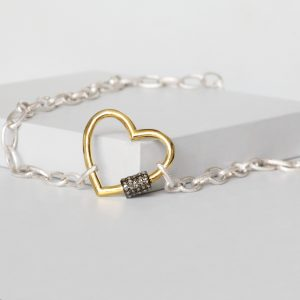 Silver Heart Carabiner Lock Necklace