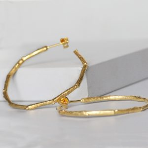 gold twig hoop earrings