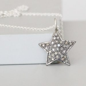 Diamond Star Necklace Silver