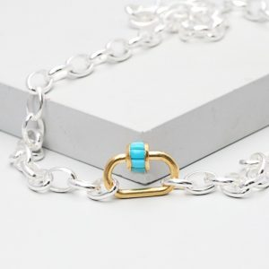 Turquoise Carabiner Necklace
