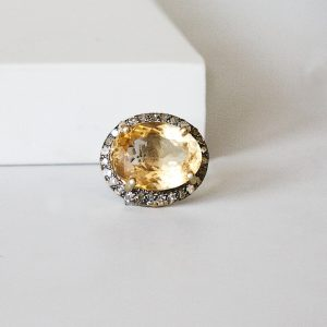 Diamond Citrine Charm