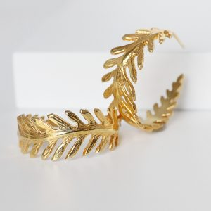 Gold Fern Hoop Earrings